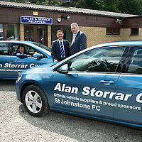 St Johnstone FC Manager Tommy Wright and Chairman Steve Brown pictured with Alan Storrar owner of Alan Storrar Cars of Perth who are the new official sponsors of the football club for the 2016/17 season…23.06.16<br />Picture by Graeme Hart.<br />Copyright Perthshire Picture Agency<br />Tel: 01738 623350  Mobile: 07990 594431