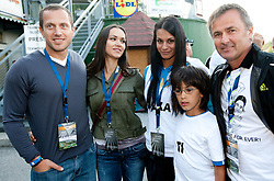 Jure Kosir with his wife Alenka Kosir, Renata Bohinc Peterka with her son Maj and Primoz Ulaga during Ski Jumping Summer Continental Cup in Kranj and last jump of Primoz Peterka's career, one of the best ski jumpers in history, on July 2, 2011, in Kranj, Slovenia. (Photo by Vid Ponikvar / Sportida)