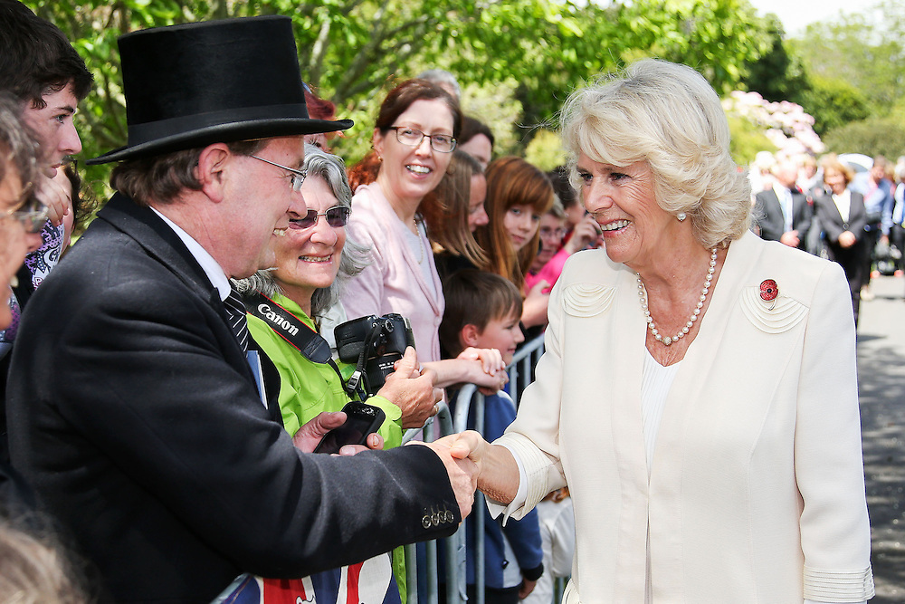 Camilla, Duchess of Cornwall meets a fan during the 'Tea With Taranaki' event at Brooklands Park , New Plymouth, New Zealand, New Zealand, Monday, November 09, 2015. Credit:SNPA / Getty, Hagen Hopkins  **POOL**