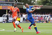 AFC Wimbledon striker Kweshi Appiah (9) missing a through ball during the EFL Sky Bet League 1 match between AFC Wimbledon and Shrewsbury Town at the Cherry Red Records Stadium, Kingston, England on 12 August 2017. Photo by Matthew Redman.