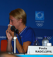 Paula Radcliffe breaks down in tears, again, during her press conferance explaining her disappointment at withdrawing mid way through the marathon, Athens Olympics, 23/08/2004. Credit: Colorsport / Matthew Impey DIGITAL FILE ONLY
