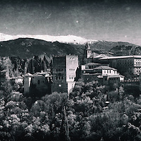 View of Alhambra palace in Granada (Spain) from San Nicolas viewpoint