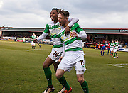 Yeovil Town striker Brandon Goodship celebrates his goal with Yeovil Town midfielder Tahvon Campbell during the Sky Bet League 2 match between Dagenham and Redbridge and Yeovil Town at the London Borough of Barking and Dagenham Stadium, London, England on 27 February 2016. Photo by Bennett Dean.