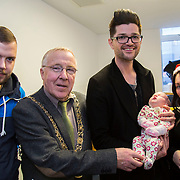 25/12/2014<br /> Special visitors on Christmas Day in Temple Street Children&rsquo;s Hospital<br /> Danny from the Script makes little kid&rsquo;s Christmas with hospital visit.<br /> Pictured here are Danny with dad Warren, The Lord Mayor of Dublin Christy Burke, little Jessica McKeown and mum Lisa from Dublin.<br /> Danny O&rsquo;Donoghue showed a heart of gold when he turned up at Temple Street&rsquo;s Children&rsquo;s Hospital on Christmas Day. The Script&rsquo;s frontman spent a number of hours on Christmas morning visiting children at their bedside along with Santa, the Lord Mayo.&nbsp;Last year, almost 400 children were cared for in Temple Street on Christmas Eve and Christmas Day &amp; a visit from Danny helped bring the magic of Christmas to Temple Street for the children and babies who are too ill or weak to make it home. Danny said of his work with Temple Street &ldquo;It&rsquo;s amazing to be involved with Temple Street, it&rsquo;s the greatest hospital on the planet. It&rsquo;s really humbling to see the children, families, doctors and nurses in Temple Street; they are all true superheroes.&quot;<br /> Pic: Alan Rowlette Photography<br /> -ENDS-