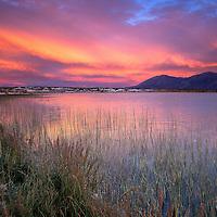 Sunset at Big Alkali Lake near Mammoth Lakes, California.