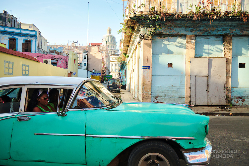 The corner that's also the main shared taxi stop of habana Vieja and Centro Habana.