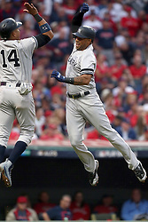 October 6, 2017 - Cleveland, Ohio, U.S. - The New York Yankees' AARON HICKS, right, celebrates his three-run home run with STARLIN CASTRO in the third inning against the Cleveland Indians during Game 2 of the American League Division Series, Friday, at Progressive Field. (Credit Image: © Phil Masturzo/TNS via ZUMA Wire)