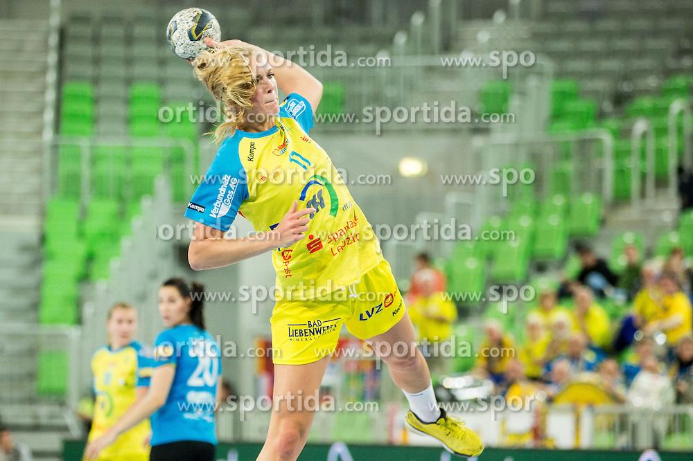 Anne Hubinger of Leipzig during handball match between RK Krim Mercator (SLO) and HC Leipzig (GER) in 6th Round of Women's EHF Champions League 2014/15, on November 21, 2014 in Arena Stozice, Ljubljana, Slovenia. Photo by Vid Ponikvar / Sportida