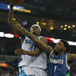 08 February 2009:  New Orleans Hornets forward James Posey (41) shoots over Minnesota Timberwolves guard Rashad McCants (1) during a NBA game between the Minnesota Timberwolves and the New Orleans Hornets at the New Orleans Arena in New Orleans, LA.