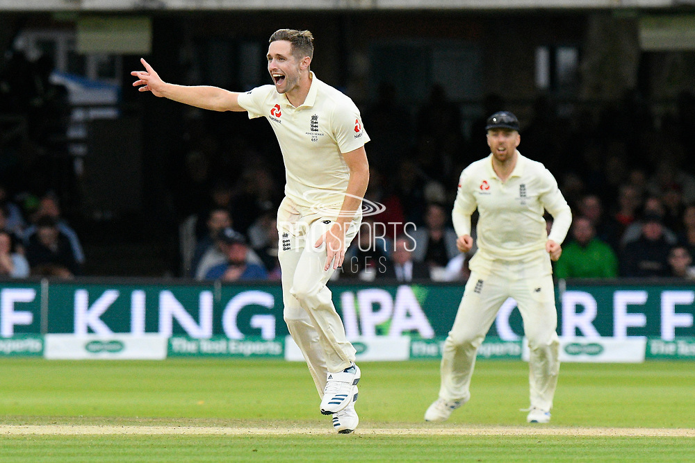 Chris Woakes of England unsucessfully appeals for an lbw against Marnus Labuschagne of Australia during the International Test Match 2019 match between England and Australia at Lord's Cricket Ground, St John's Wood, United Kingdom on 18 August 2019.