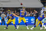 Jan 12, 2019; Los Angeles, CA, USA; Los Angeles, CA, USA;  Los Angeles Rams quarterback Jared Goff (16) attempts to throw a pass against the Dallas Cowboys during an NFL divisional playoff game at the Los Angeles Coliseum. The Rams beat the Cowboys 30-22. (Kim Hukari/Image of Sport)