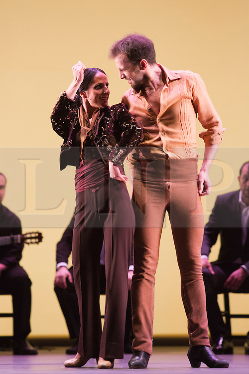 © Licensed to London News Pictures. 11 March 2014. London, England. Mercedes Ruiz and Marco Flores performing. Flamenco Festival London 2014 - Gala Flamenca, The Five Seasons. A regular feature at Sadler's Wells annual Flamenco Festival, this year's Gala Flamenca programme features some of the most exciting figures on the flamenco scene - Marco Flores, Olga Pericet, Laura Rozalén and Mercedes Ruiz - bringing together an array of talents and disciplines in one spectacular show. Photo credit: Bettina Strenske/LNP