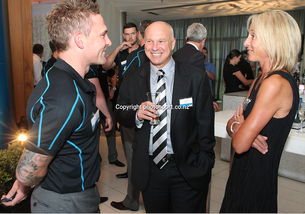 Black Caps captain Brendon McCullum, NZ Cricket CEO David White and his wife at the ANZ International Cricket Series Launch at Bellini, Hilton Hotel Auckland, 7 February 2013