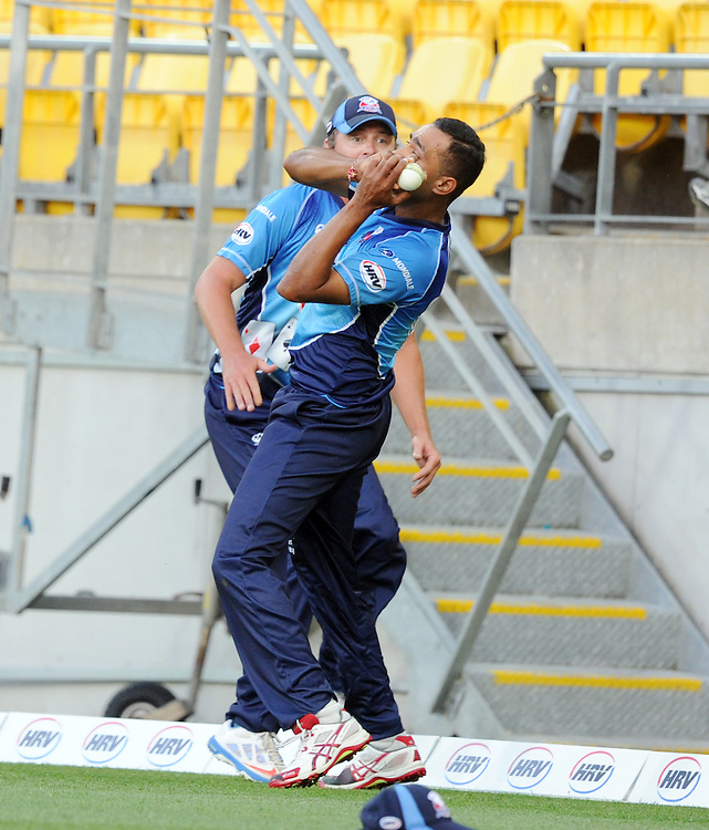 Auckland Aces Jeet Raval checks the boundary in front of Bruce Martin after taking the catch to dismiss Wellington Firebirds Stephen Murdoch in the HRV T20 cricket match at Westpac Stadium, Wellington, New Zealand, Saturday, November 23, 2013. Credit:SNPA / Ross Setford