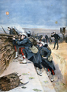 French military manoeuvres: Engineers defending a trench. At top left is and observation balloon. From 'Le Petit Journal', Paris, 1 October 1894. Army, Soldier, Weapon, Rifle