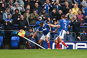 Portsmouth defender Christian Burgess (6) celebrates his goal to make it 1-1 during the EFL Sky Bet League 2 match between Portsmouth and Wycombe Wanderers at Fratton Park, Portsmouth, England on 10 September 2016. Photo by David Charbit.