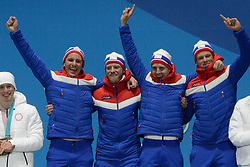 February 18, 2018 - Pyeongchang, South Korea - The Norwegian cross-country skiing team celebrates winning the gold medal in the Men's 4 x10km Relay event in the PyeongChang Olympic Games. Team members are :.Didrik TOENSETH  Martin Johnsrud SUNDBY  Simen Hegstad KRUEGER  Johannes Hoesflot KLAEBO (Credit Image: © Christopher Levy via ZUMA Wire)