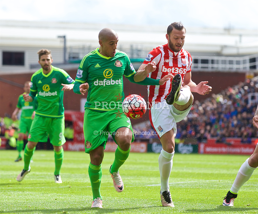 STOKE-ON-TRENT, ENGLAND - Saturday, April 30, 2016: Sunderland's Wabi Khazri in action against Stoke City's Erik Pieters during the FA Premier League match at the Britannia Stadium. (Pic by David Rawcliffe/Propaganda)