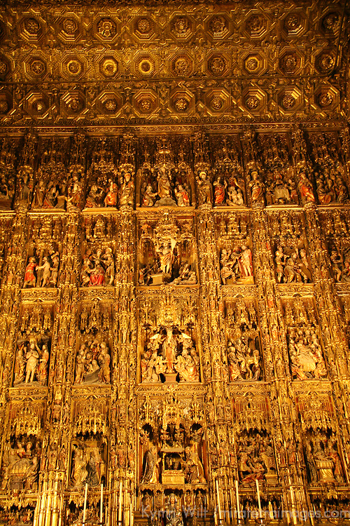Europe, Spain, Seville. The Cathedral of Seville, Cathedral de Sevilla. The Retablo Mayor, the grand altarpiece crafted by Pierre Dancart in 1526, is the largest and richest in the world.