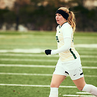 1st year forward, Lauryn Hayes (29) of the Regina Cougars during the Women's Soccer home game on Sat Oct 13 at U of R Field. Credit: Arthur Ward/Arthur Images