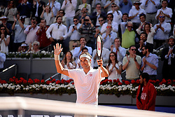May 9, 2019 - Madrid, Spain - Roger Federer of Switzerland celebrates victory in his match against GaÃ«l Monfils of France during day six of the Mutua Madrid Open at La Caja Magica in Madrid on 9th May, 2019. (Credit Image: © Juan Carlos Lucas/NurPhoto via ZUMA Press)