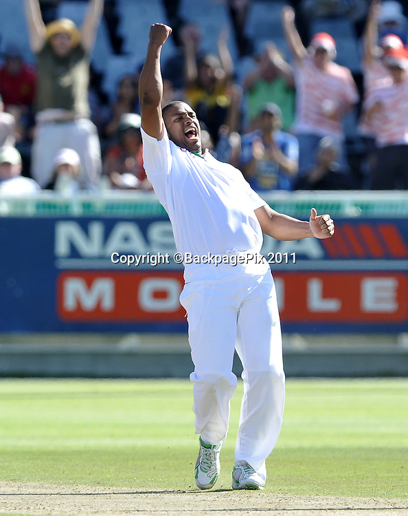 Vernon Philander of South Africa celebrates a wicket. South Africa v Australia, first test, day 2, Newlands, South Africa. 10 November 2011<br /> <br /> <br /> &copy;Ryan Wilkisky/BackpagePix