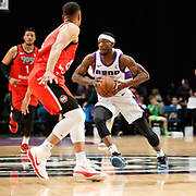 Reno Bighorns Guard JOSH HAGINS (5) passes up court against Raptors 905 Guard KETHAN SAVAGE (8) during the NBA G-League Basketball game between the Reno Bighorns and the Raptors 905 at the Reno Events Center in Reno, Nevada.