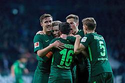 11.02.2018, Weserstadion, Bremen, GER, 1. FBL, SV Werder Bremen vs VfL Wolfsburg, 22. Runde, im Bild Jubel um Florian Kainz (SV Werder Bremen #7), zweiter von links, nach dessen Treffer zum 2:0, hier mit, von links, Max Kruse (SV Werder Bremen #10), Zlatko Junuzovic (SV Werder Bremen #16), Niklas Moisander (SV Werder Bremen #18) und Ludwig Augustinsson (SV Werder Bremen #5) // during the German Bundesliga 22th round match between SV Werder Bremen vs VfL Wolfsburg at the Weserstadion in Bremen, Germany on 2018/02/11. EXPA Pictures © 2018, PhotoCredit: EXPA/ Andreas Gumz<br /> <br /> *****ATTENTION - OUT of GER*****