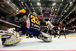 Thomas Ower of Germany blocks the puck at IIHF In-Line Hockey World Championships Quarter final match between national teams of Sweden and Germany on July 2, 2010, in Karlstad, Sweden. (Photo by Matic Klansek Velej / Sportida)