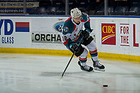 KELOWNA, CANADA - FEBRUARY 16:  Michael Farren #16 of the Kelowna Rockets warms up with the puck against the Vancouver Giants on February 16, 2019 at Prospera Place in Kelowna, British Columbia, Canada.  (Photo by Marissa Baecker/Shoot the Breeze)