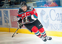 KELOWNA, CANADA - OCTOBER 10: Tyson Baillie #24 of the Kelowna Rockets warms up on the ice as the Spokane Chiefs visit the Kelowna Rockets on October 10, 2012 at Prospera Place in Kelowna, British Columbia, Canada (Photo by Marissa Baecker/Shoot the Breeze) *** Local Caption ***