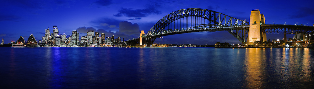 Sydney Harbour landscape featuring (LtoR) Sydney Opera House, CBD, Sydney Harbour Bridge. Photographed from Kirribilli