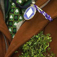 17 March 2006; An Irish racegoer wears shamrock to mark St Patrick's Day. Cheltenham Festival, Prestbury Park, Cheltenham, England. Picture credit: Brendan Moran / SPORTSFILE