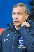 Chris Hughton, Manager of Brighton & Hove Albion FC during the Premier League match between Brighton and Hove Albion and Watford at the American Express Community Stadium, Brighton and Hove, England on 2 February 2019.
