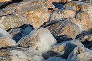 Foam on rocks, sea salt marsh, Salt industry. Torrevieja. Alicante. Spain