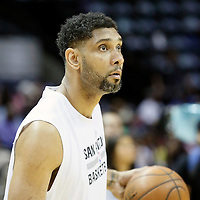 03 April 2015:  San Antonio Spurs forward Tim Duncan (21) warms up prior to the San Antonio Spurs 123-93 victory over the Denver Nuggets , at the AT&T Center, San Antonio, Texas, USA.