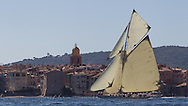 "FRANCE, St Tropez. 3rd October 2012. Voiles de St Tropez. 15-metre class yacht, D1 ""Mariska"" built in 1908, designed by William Fife III."