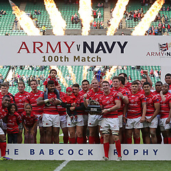 TWICKENHAM, ENGLAND - APRIL 29: The Army team pose with the trophy after winning the Babcock Trophy rugby union match between The British Army and the Royal Navy played in Twickenham Stadium, on April 29, 2017 in Twickenham, England.  (Photo by Mitchell Gunn/Getty Images) *** Local Caption ***