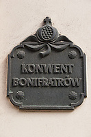 Sign for the Bonifratrow Convent in Kazimierz Krakow Poland