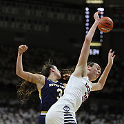 Breanna Stewart, UConn, challeges for a rebound with Marina Mabrey, Notre Dame, during the Notre Dame Vs UConn Women's Basketball game at Grampel Pavilion, Storrs, Connecticut, USA. 5th December 2015. Photo Tim Clayton