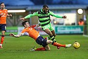 Forest Green Rovers Dan Wishart(17) is tackled by Luton's Glen Rea during the EFL Sky Bet League 2 match between Forest Green Rovers and Luton Town at the New Lawn, Forest Green, United Kingdom on 16 December 2017. Photo by Shane Healey.