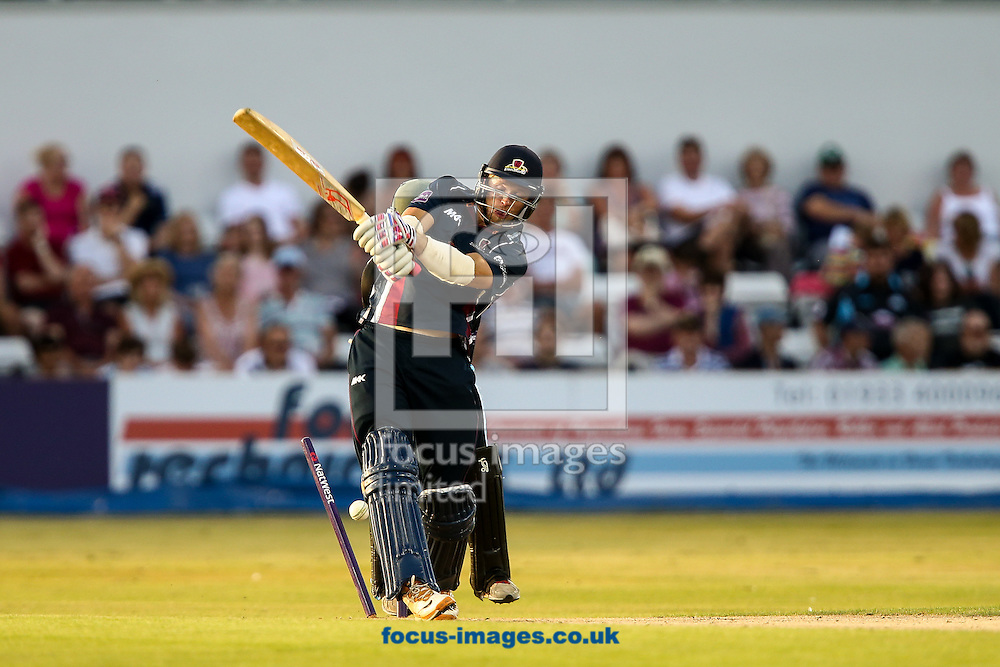 David Willey of Northants Steelbacks is bowled by Joe Leach of Worcestershire Rapids (not shown) during the Natwest T20 Blast match at the County Ground, Northampton<br /> Picture by Andy Kearns/Focus Images Ltd 0781 864 4264<br /> 18/07/2014