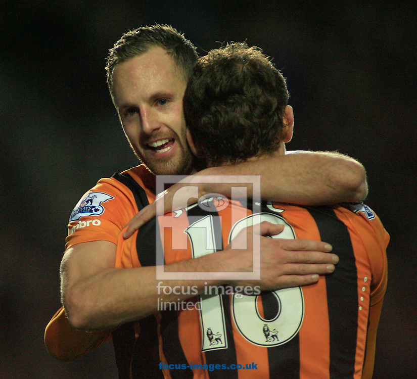 Nikica Jelavic of Hull City celebrates his goal with David Meyler to make it 2-0 to Hull during the Barclays Premier League match at KC Stadium, Hull<br /> Picture by Richard Gould/Focus Images Ltd +44 7855 403186<br /> 01/01/2015