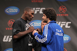 September 29, 2011; Washington D.C.; USA; Anthony Johnson (left) and Charlie Brenneman (right) pose at the final press conference for their upcoming bout at UFC on Versus 6.