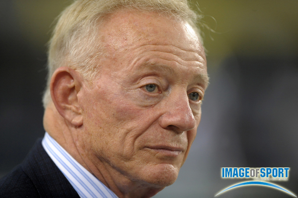 Aug 12, 2010; Arlington, TX, USA; Dallas Cowboys owner Jerry Jones attends the game against the Oakland Raiders at Cowboys Stadium. Photo by Image of Sport