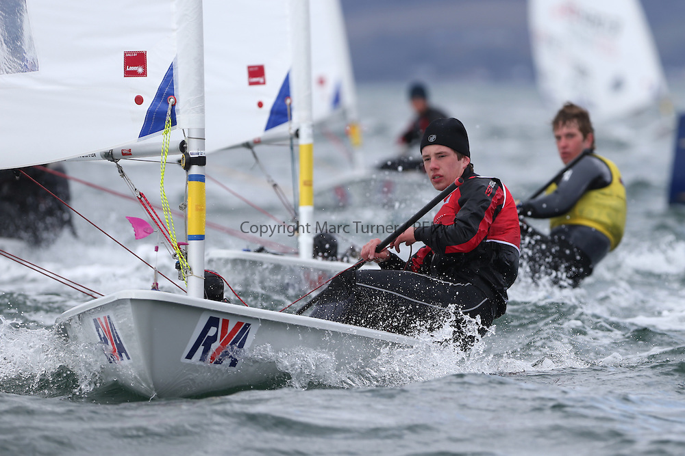 Image Credit Marc Turner.Laser Radial, 193713, Robbie ROBINSON, Royal Navy, Day 4, RYA Youth National Championships 2013 held at Largs Sailing Club, Scotland from the 31st March - 5th April. .