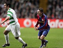 Lionel Messi takes on Paul Hartley. Celtic v Barcelona, Uefa Champions League, Knockout phase, Celtic Park, Glasgow, Scotland. 20th February 2008.