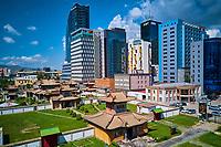 Mongolie, Oulan-Bator, monastere de Choijin Lama, vue aerienne du centre ville // Mongolia, Ulan-Bator, Choijin Lama monastery in the city centre from above
