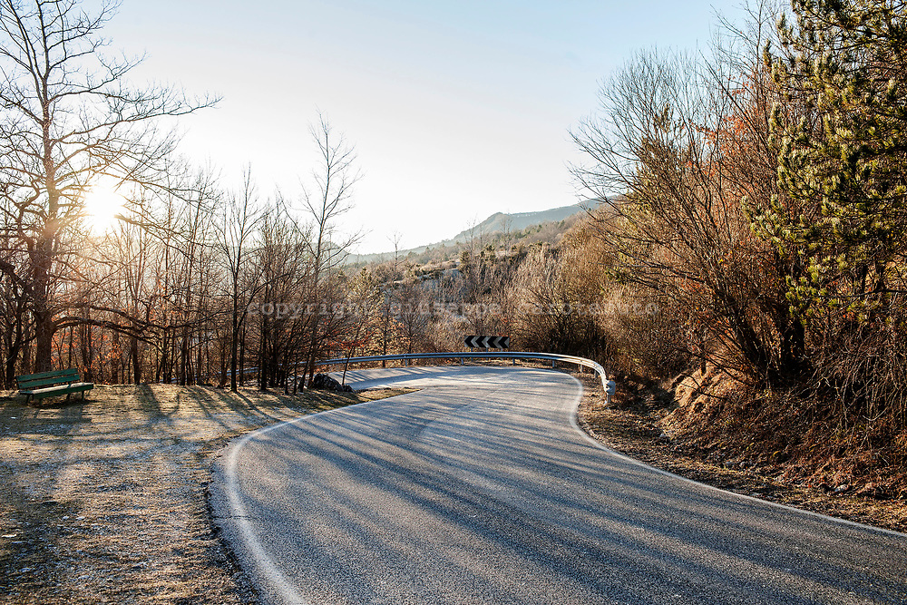 16 February 2017, Civitella Alfedana - A street of mountains insiede the National Park of Abruzzo.