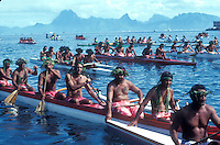 French Polynesia, Islands in the South Pacific, part of the French overseas Territories.Photo by Owen Franken.Traditional canoe race in the water between Tahiti and Moorea...Photo by Owen Franken
